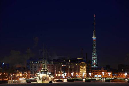Night view in Saint-Petersburg on Aurora, Avrora battle ship and TV tower.