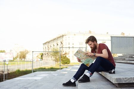 Hipster Style Man Read City Map To Find Short Way To Collage