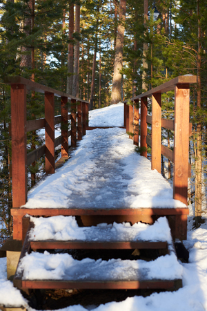 Wooden bridge across mountain river in the forest in winter sunny day. Footpath. Walking trail between high trees. Stock Photo