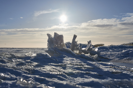 Winter sea ice background. Cold desert under high sun. Landscape as Norwegian or Baikal.