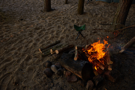Top outdoor view of woods burning in fireplace. Some tourists or trekkers built campfire on sandy beach to warm themselves on cold autumn evening, make tea and prepare food. Traveling and adventure