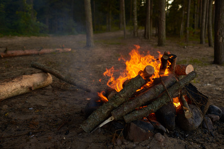Close up shot of fireplace with blazing fire set by some hikers at twilight. Relaxing hypnotizing view of flame in forest or nature park. Tourism, holiday, active lifestyle, relaxation and leisure Фото со стока