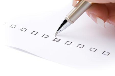 Woman hand marking a check box Stock Photo - 2827998