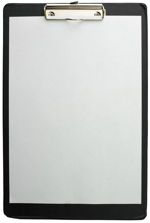 nota: Clipboard with a blank sheet of paper, isolated over white Stock Photo
