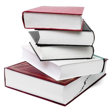 five thick books lying in a stack, isolated on white background, clipping path included photo
