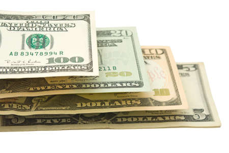 US Dollars in ladder, over white, isolated Stock Photo - 2970224