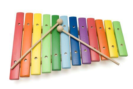 xylophone: Xil�fono de juguete colorido, a lo largo de color blanco, aisladas, con saturaci�n camino  Foto de archivo