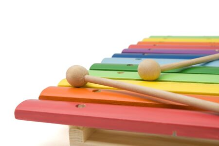 tuneful: Toy colorful xylophone, over white, isolated, with clipping path Stock Photo