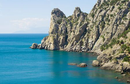 overhang: Blue sea and rocky mountains, shot in Crimea - 3 Stock Photo