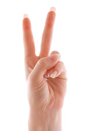 Victory gesture, isolated, over white Stock Photo - 3217394