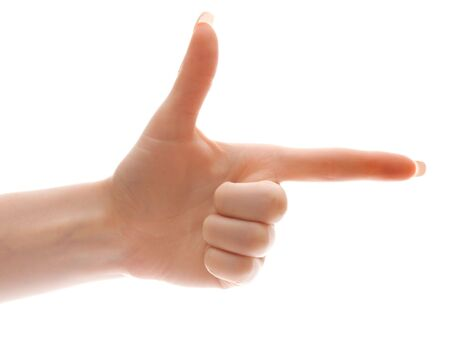hand with finger pointing at something or pretending to shoot, isolated, on white background Stock Photo - 3217391