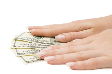 Us dollars banknotes with female hands on them Stock Photo - 3283786