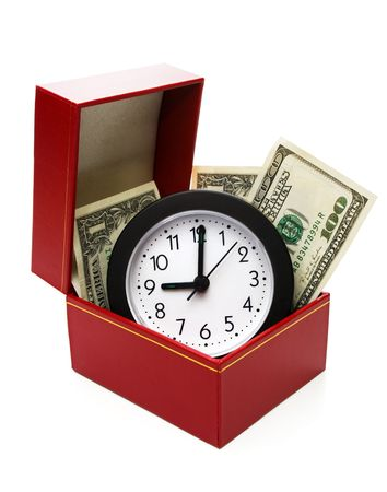 money and clock in red fancy box, with clipping path, on white background photo