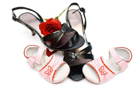 opentoe:  and woman open-toe shoes, with a rose inside, isolated
