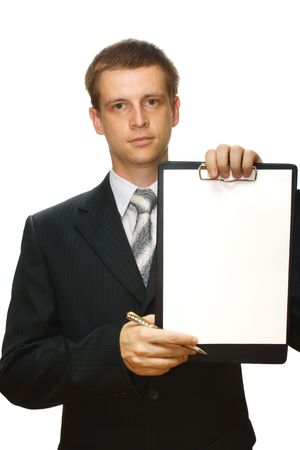 Businessman holding or showing a clipboard and a pen, isolated Stock Photo - 3500077