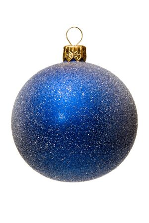 Xmas tree ball, blue with silver spangles, isolated photo