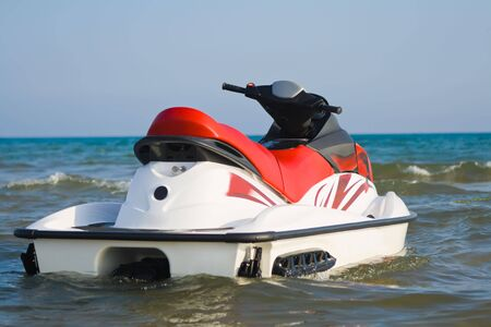 personal watercraft: Jet-ski parked on water
