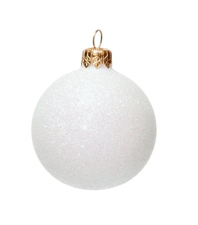 White Christmas ball, decoration for x-mas tree, isolated photo
