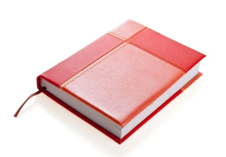 organiser: Red-and-orange personal organizer, isolated Stock Photo
