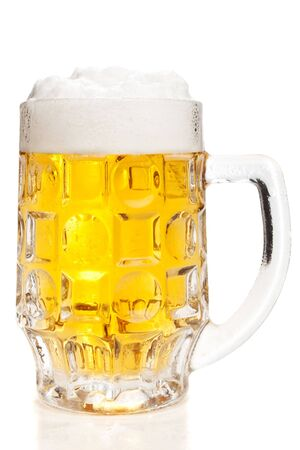 Beer mug with a froth on top, isolated photo