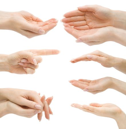 hand gestures: Hand gestures set, isolated, with clipping path Stock Photo