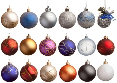 18: Set of 18 chrismas balls, isolated Stock Photo