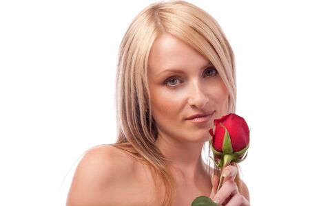 Portrait of a cute blond girl with red rose, isolated Stock Photo - 3851077