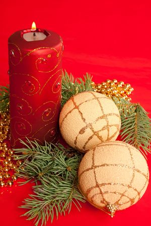 Christmas decoration on red background Stock Photo - 3908125