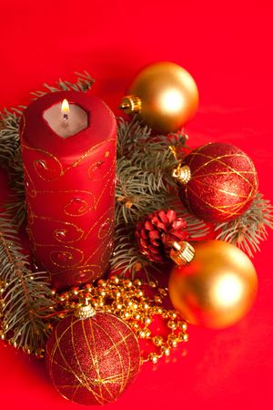 Christmas decoration on red background shot from top photo