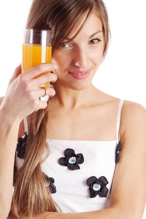 Girl holding juice in her hand, isolated Stock Photo - 3932973