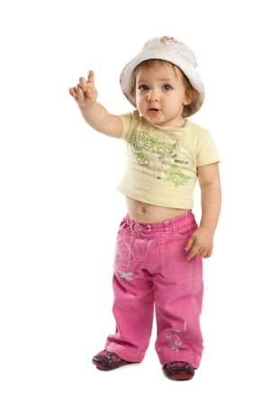 Cute little girl with her  forefinger up, isolated Stock Photo - 3932942