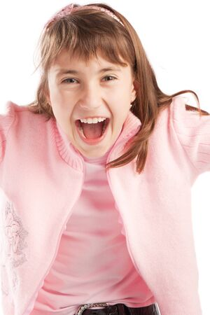 Excited teenager in pink jacket, isolated photo