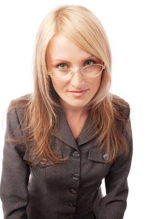 Blond teacher in glasses, isolated Stock Photo - 3950208
