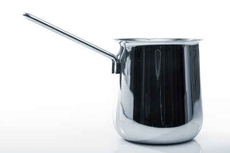 cezve: Steel coffee cezve, isolated