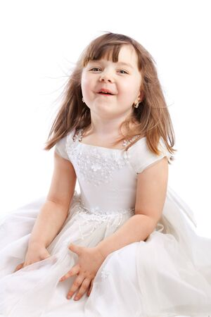 Little girl in white dress, isolated Stock Photo - 4041379