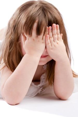 peekaboo: Girl playing peek-a-boo, isolated