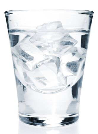 Glass with alcohol drink with ice cubes inside, isolated Stock Photo - 4081593
