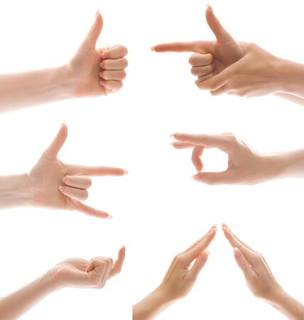 Hand gesture set, isolated Stock Photo - 4112822