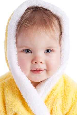 Baby in yellow bath gown photo