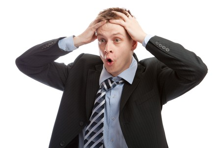 Businessman stressed or frustrated photo