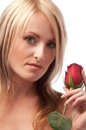 Attractive girl with red rose Stock Photo - 4191980