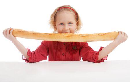 frans brood: Meisje eet Frans brood, geïsoleerde
