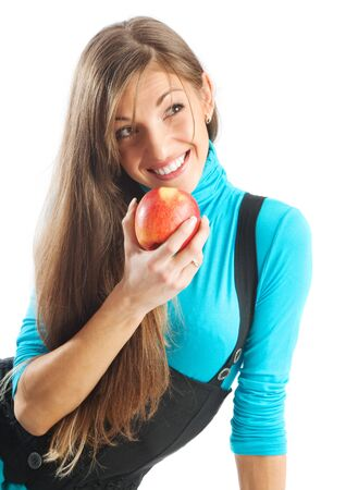 Portrait of a pretty brown-haired girl with apple photo