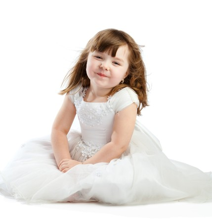 kids dress: Lovely princess in white dress