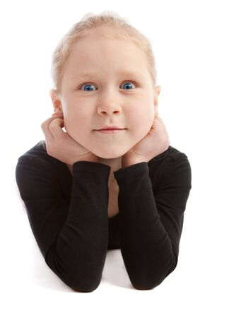 occhi sbarrati: Sweet prescolare ragazza con gli occhi ben aperti