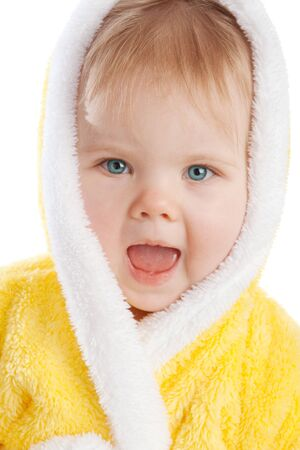 Baby girl in yellow terry bath gown photo
