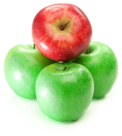 Three green and one red apple, isolated photo