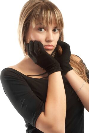 Portrait of a girl in black top and gloves