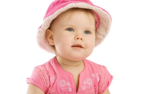 pink hat: Serenity in pink hat, isolated, over white