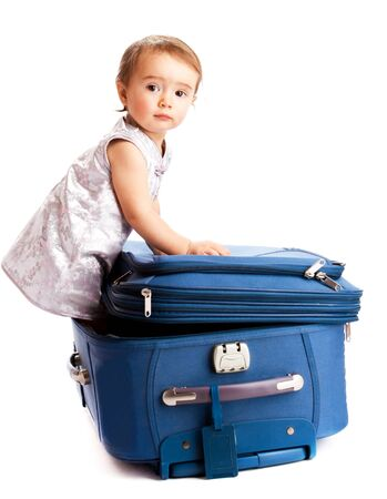 Lovely baby inside the suitcase photo